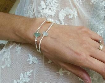 Sea glass bracelet.Silver beaded bracelet.Sea glass jewellery.gift for her under 15.silver bracelet.boho bracelet.boho jewellery.handmade