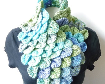 Spring Scarf CROCHET PATTERN Dragon Scales Scarf Dragon Scarf Mermaid Scales Crochet Neckwarmer Crochet Neck Warmer Whimsy Couture PDF diy