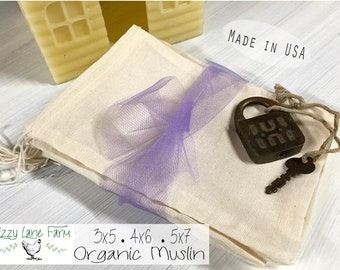 25 • 3x5 4x6 5x7 Organic Muslin Drawstring Bag | Wedding Favor Bag Wedding Toss | Stamping | Bulk, Biodegradable, Culinary, Tea Bag |  Food