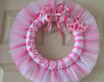 Pink and White Princess Tulle Wreath