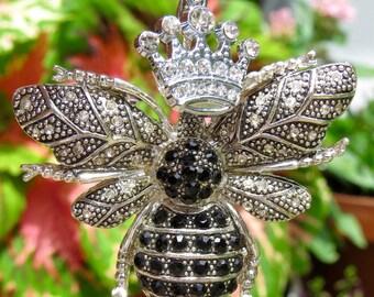 SPARKLING QUEEN BEE,  Rhinestone, Vintage, Bumblebee, Purse Clip, Bag Clip, Purse Jewelry