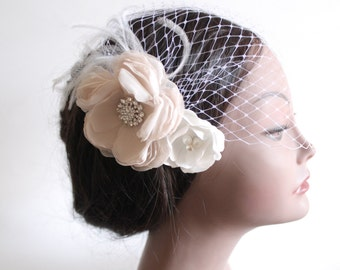 Birdcage Bandeau Veil, Blush Flower Birdcage Veil and Fascinator, Ostrich Feathers and Rhinestone Pendants