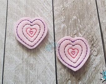 Nested Heart Clips, Heart Waves, Hair Clips, Repeating Hearts, Valentine's Day, Hair Accessories, Alligator Clips, Hair Clippes