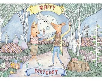 Birthday foxes, birthday fox print, fox art, fox art print, Party Foxes, gifts for fox lovers, fox illustration, fox drawing, A5 Print