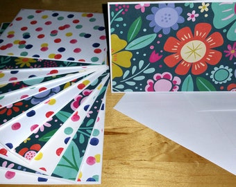 Set of 12, Blank Notes, Handmade, Cards, Girls, Floral, Multi, Flowers, Stationery, Gift, All Ocassion, Teens