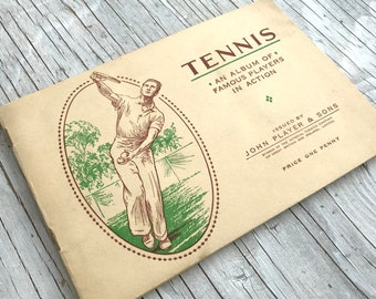 Tennis an album of famous players in action. Picture-card Album, full set of 50 cigarette cards. Circa 1936. Condition mostly very good.