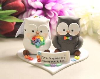 Rainbow Owl wedding cake toppers +felt base - colorful bride groom love birds blue orange yellow red bridal gift rustic woodland animal cute