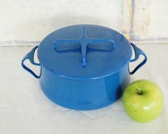 Vintage Dansk Kobenstyle Jens Quistgaard Medium Blue Enamel Pot with Lid Made in France