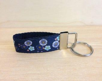 Mini flowered key ring fob - purple, blue and navy key ring - key fob - key ring wristlet - key fob wristlet