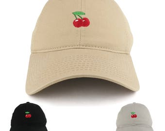 Small Cherry Embroidered Washed Cotton Soft Crown Adjustable Dad Hat - Available in 3 Colors! (C03-CHERRY)
