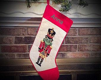 Frog Nutcracker Needlepoint Christmas stockings, Personalized Christmas stockings, Christmas stocking, Frog Stocking, Nutcracker stocking