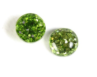 12mm Green round resin cabochon - Green Glitter Cabochon - Domed Flat Back cabochons  - 12mm glitter cabochons (1816)