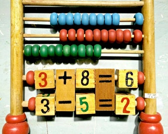 Vintage wooden abacus, childs wooden counting frame, vintage counting frame, counting frame, vintage toys, new old stock, vintage child