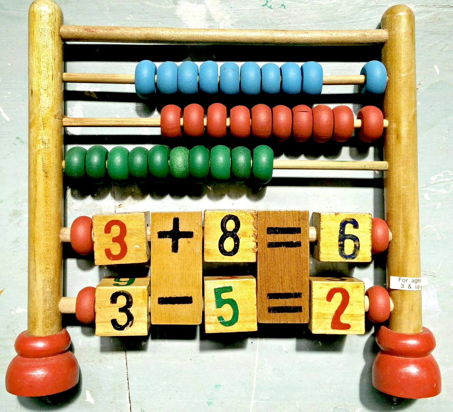 Vintage wooden abacus childs wooden counting frame vintage