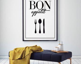 Bon Appetit print, kitchen wall art, printable art, fork and spoon wall art, Bon Appétit Sign, kitchen art, kitchen quote, dining room print