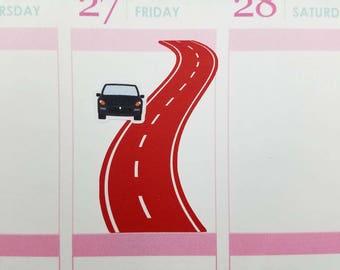 Road Planner Stickers for Erin Condren, Happy Planner & more