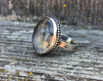 Moss Agate & Sterling Silver Ring