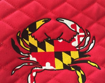 Maryland Flag Crab Embroidered Full Set Saddle Pad, Polo Wraps and Fly Bonnet