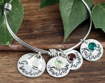 Personalized Grandma Bracelet | Hand Stamped Mom Bracelet | Personalized Jewelry | Grandmother Bracelet | Gift for Her | Gift for Grandma