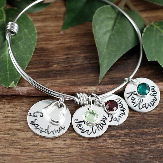 Personalized Grandma Bracelet | Hand Stamped Mom Bracelet | Personalized Jewelry | Grandmother Bracelet | Gift for Her | Gift for Grandma