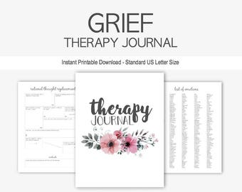 Grief Therapy Journal: Mental Health, Depression, Anxiety, Death, Loss, Rejection, Counseling, Instant Printable Download