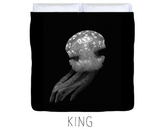 Black duvet cover, black bedding, jellyfish decor, jellyfish duvet, kid's duvet cover, child's duvet, underwater, nature decor, ocean decor
