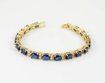 Blue Sapphire Bracelet 14K Yellow Gold Plated