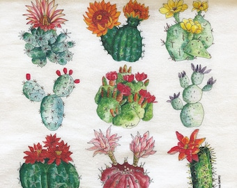 Cactus Flour Sack Tea Towel. Great Cook's Gift. Gourmet quality, white cotton. Affordable Hostess or Kitchen Gift.