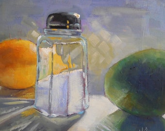 "Daily Painting, Small Oil Painting, Still Life with Fruit ""Salt, Lemon , Lime"" 11x14"" Oil by Carol Schiff, Free Shipping in US"