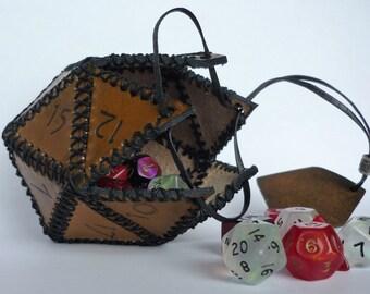 Leather D20 dice box
