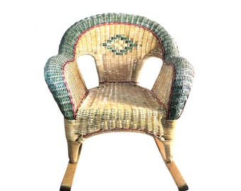 French Wicker  Child Rocking-Chair, Green Blue Turquoise Rattan Chair, Kid Armchair
