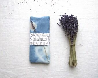 Organic eye pillow, relaxation eye bag, botanical indigo dyed cotton, flax seeds / rice / lavender, tech addict friend coworker teacher gift