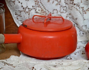 Vintage Red Dansk Kobenstyle Enamel Cookware Pot with Wooden Handle - IHQ Enameled Jens Quistgaard Saucepan Pot Pan