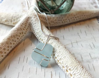 Handmade from Okinawa wire wrapped sterling silver light blue sea glass pendant. Sea glass jewelry. Mother's day gift for her