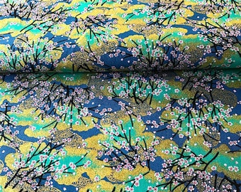 Japanese traditional pattern of cherry blossoms, blue background, cotton 110 x 50 (307)