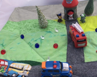 Paw Patrol play set play mat  Playmat play scape with 3 characters 2 emergency vehicles trees etc Imaginative