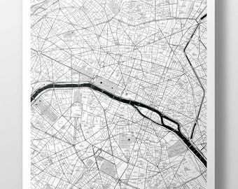 Paris Map Poster - B&W