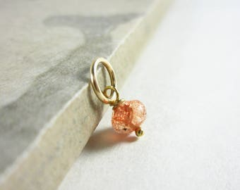 Tiny Solo -Dk - Oregon Sunstone Jewelry - Orange Sunstone Pendant - Orange Gemstone Jewelry - Sterling Silver Charms - Natural Stone Jewelry