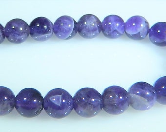 Amethyst Beads, 6mm Round Beads, Natural Gemstone, Dog Tooth Amethyst, High Quality, 1 Full Strand 62 beads