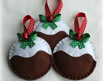 3 Felt Christmas Pudding Handmade Decoration