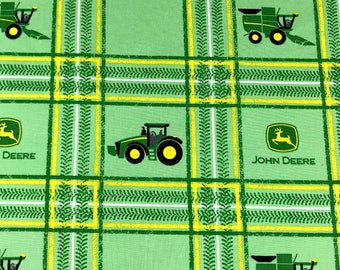 John Deere baby fabric, John Deere green plaid fabric 100% cotton for Quilting, arts, crafts  and general sewing projects.