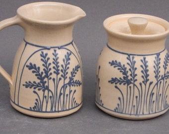 Cream and Sugar Set- Two Piece Set - Blue Wheat - Stoneware Pottery Creamer or Gravy boat
