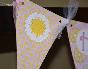 You are my sunshine-Little Miss Sunshine- Happy Birthday pennant banner-pink and yellow
