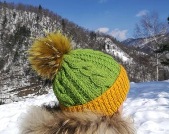 Colorful Beanie Hat With Raccoon PomPom - Beanie Hat - Green - Yellow - Raccoon PomPom - Handmade Beanie Girls Hat - Handmade Hat -Crazy Hat