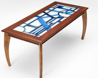 Art Deco Glass Top Brown Coffee Table
