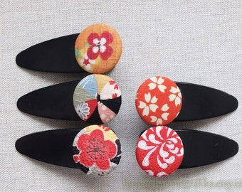Hair Accessories Fabric Button Large Hair Clips Barrettes-Japanese Traditional Kimono Blooming Floral Cherry Blossom (1PCS, Choose Pattern)