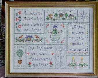 Cross Stitch Pattern | WINTERTIME | Cathy Bussi | Winter Sampler | Counted Cross Stitch Pattern | Chart | fam
