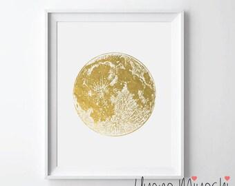 Moon Gold Foil Print, Moon Gold Print, Moon Print in Gold, Moon Surface Gold Art Print, Moon Gold Foil Art Print