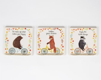 Inspirational Coasters with Animals on Bicycles Sass&Belle