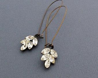 Rhinestone Leaf Earrings, Rhinestone Earrings,  Long Earrings, Art Deco Bride Earrings, Vintage Wedding